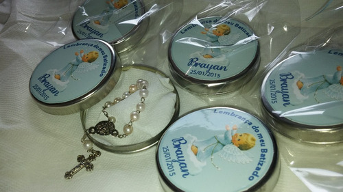 10 lembrancinha batizado latinha mini terço personalizada