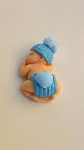 10 lembrancinhas bebê em biscuit  cor azul com imã menino