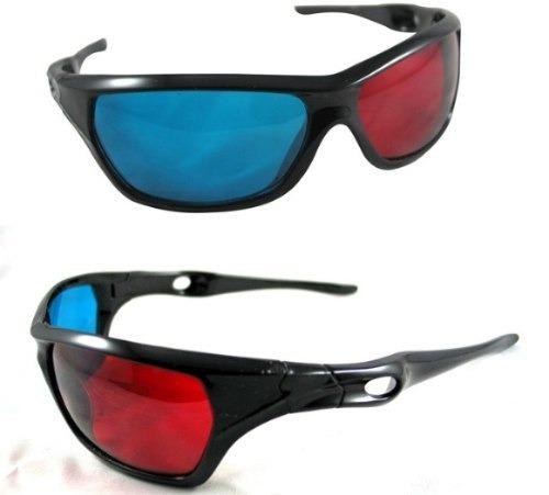 10 lentes 3d rojo azul cyan anaglifo tv revistas pc plastico
