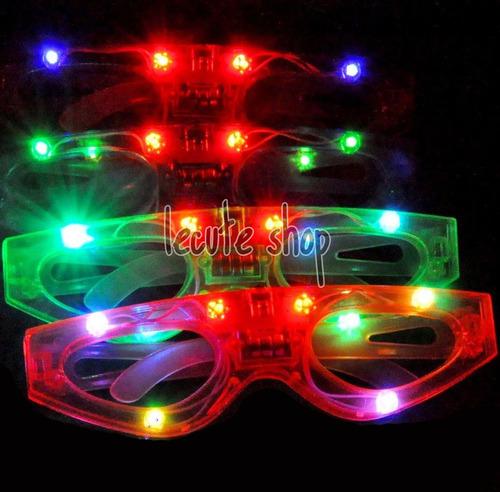 10 lentes led luminosos luz sencillos varios colores fiesta