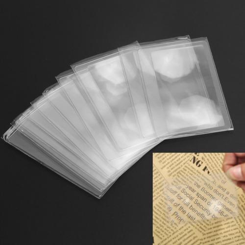 10 lentes / lupas aumento fina cartão crédito  leitura 3x
