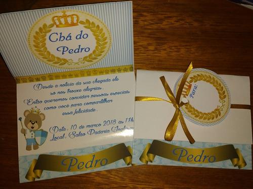 10 lindos convites chá de bebê,panela,aniv com tags e fita