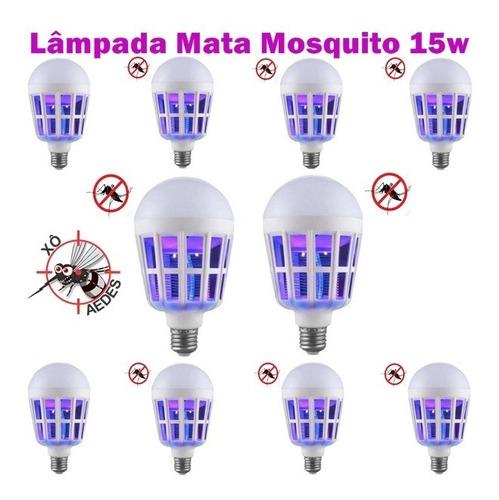 10 lâmpada mata mosquito zika pernilongo mosca 15w bivolt