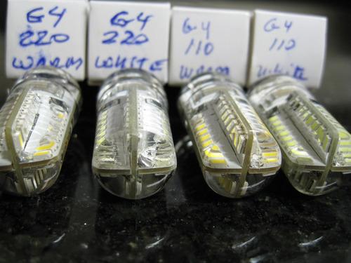 10 lâmpadas g4 4w 110v 64 led dimerizável branco frio 6000k
