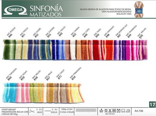 10 madejas de hilaza sinfonia 100% algodon colores a escoger