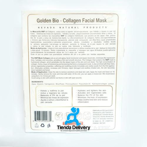 10 mascarillas faciales de colágeno hidrolizado de oro
