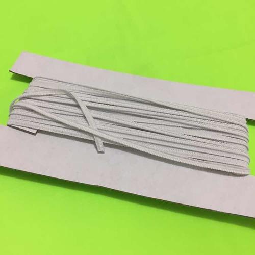 10 metros cordón plano elástico reforzado 4mm cubre bocas wh