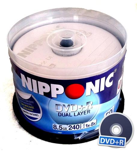 10 mídia dvd+r dual layer 8x  com logo, 8,5 gb, nipponic