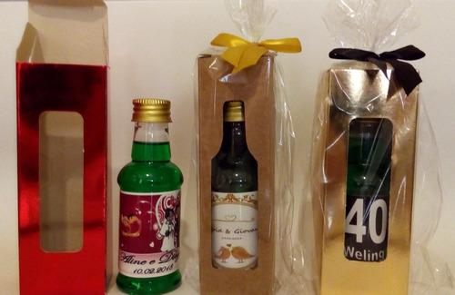 10 mini licor de cacau ou pipper garrafinha 60 ml+caixinha