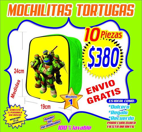 10 mochilitas dulceros tortugas $380 fiestas infantiles