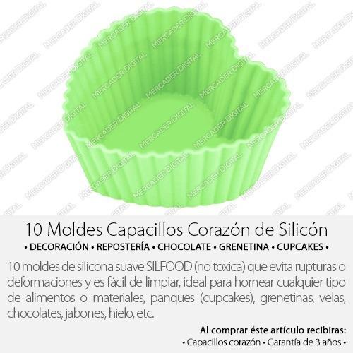 10 moldes de silicón en forma de corazón capacillo + envío