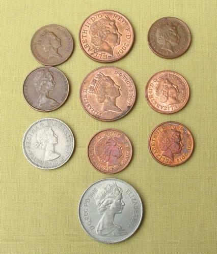 10 monedas surtidas reino unido,1962/2014, peniques/shilling