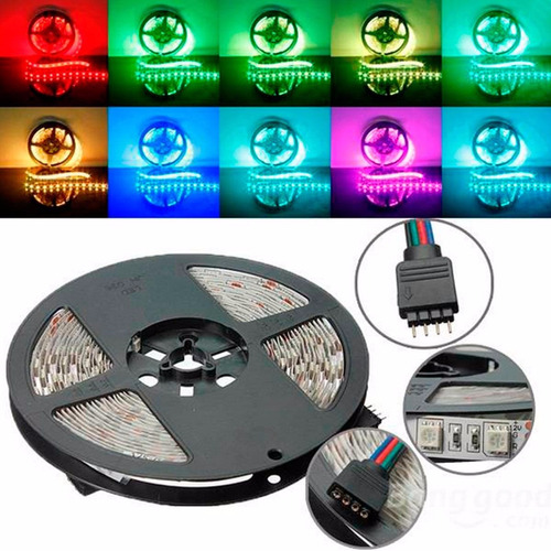 10 mtrs tira led rgb 5050 + fuente y control kit completo