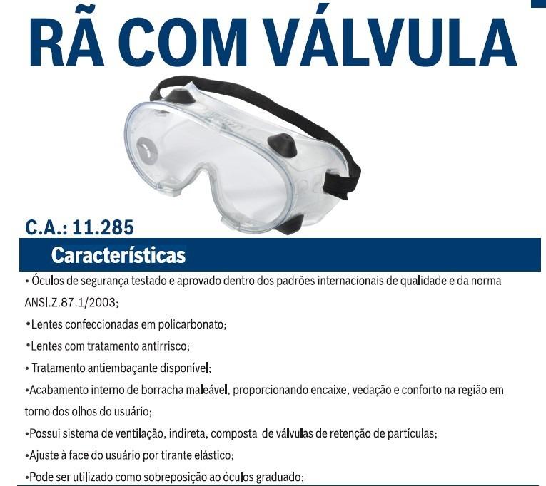 bb732056a0eeb 10 Oculos De Proteção Rã Ampla Visão Incol Kalipso Ca11.285 - R  145 ...