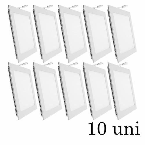 10 painel plafon embutir super led ultra slim downlight 18w