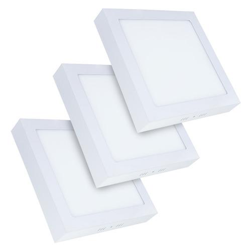 10 painel plafon led 18w quadrado sobrepor branco frio