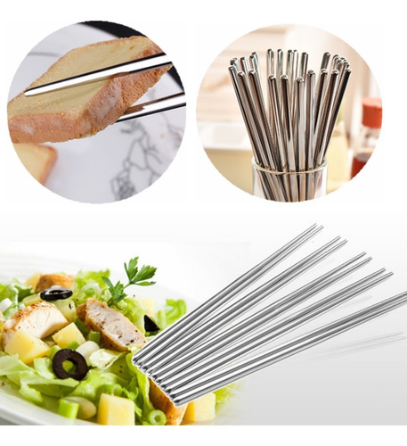 10 par reutilizable palillos metal coreano chino de acero ac