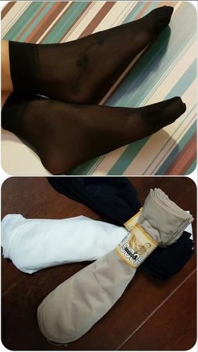 10 pares meias soquete leve elástica fio 10 transp. ref: 272
