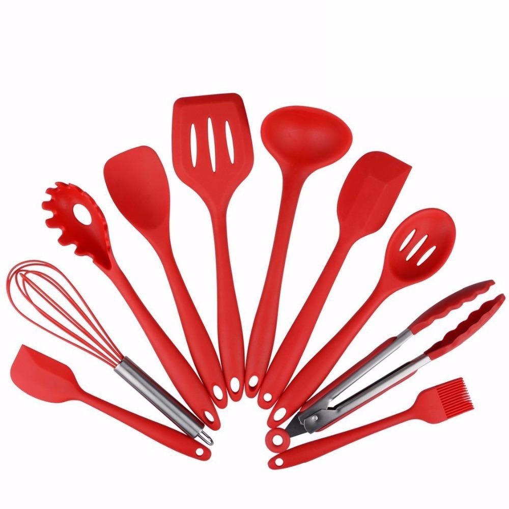 10 Pcs Kit Utens Lios Cozinha Silicone Inox Esp Tula Concha R  ~ Itens Essenciais Para Cozinha