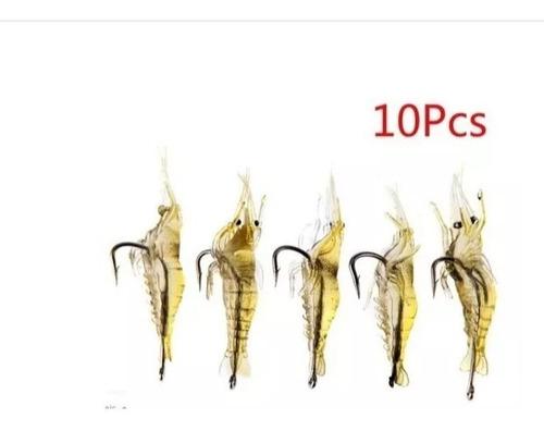 10 pçs/lote camarão iscas de pesca camarão artificial macio