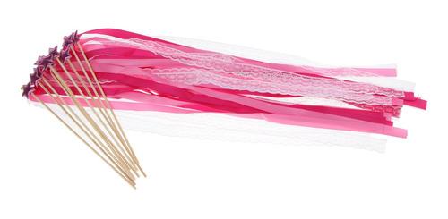 10 pedazos estrella seda vara lazo banderínes de fiestas