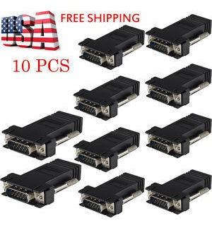 10 piezas extensor vga macho a cable de red lan cat5 cat6 rj