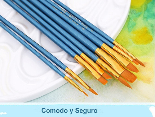 10 pinceles de nilón para pintura acuarela, acrílico, oleo