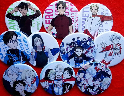 10 pines prendedores colección yuri on ice - manga anime