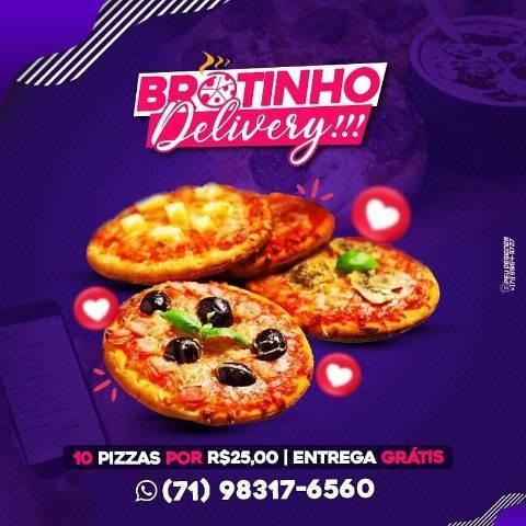 10 pizzas brotinho por apenas r$25,00