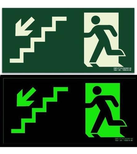 10 placa pvc fotoluminescente sinalização extintor rota fuga