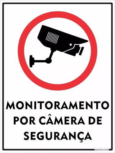 10 placas de monitoramento por câmera de segurança 30x20cm