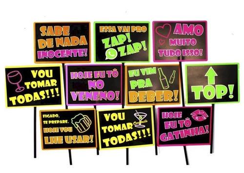 10 plaquinha divertida festa balada neon com palito
