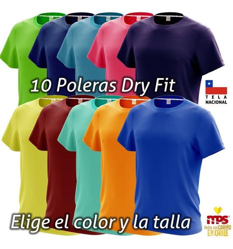 10 poleras deportiva dry fit antitranspirante nacional color