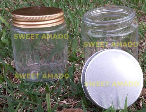 .10 pote p/ bolo redondo vidro com tampa de alumínio 200ml