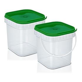 10 Potes Quadrado Verde Bolo Pote Biscoito Plástico 500ml