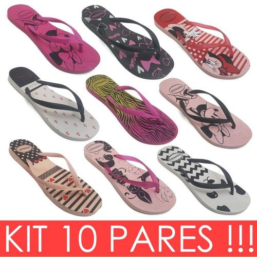 10 pr chinelo sandália rasteira feminina estampa atacado k36