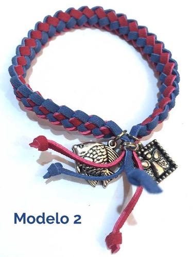 10 pulseras tejidas de gamuza varios colores moda 2 dije