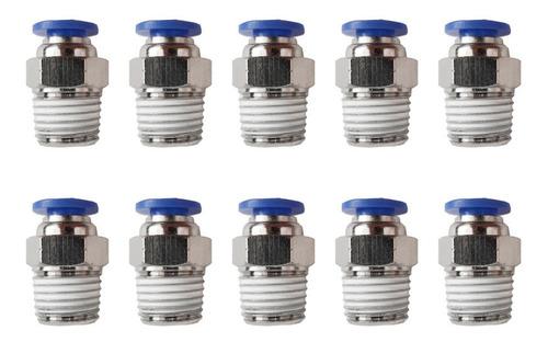 10 pz de conector/racor rápido neumático recto 1/4 npt x 6mm