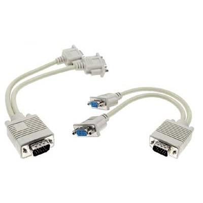 10 pzas cable duplicador splitter vga doble monitor laptop