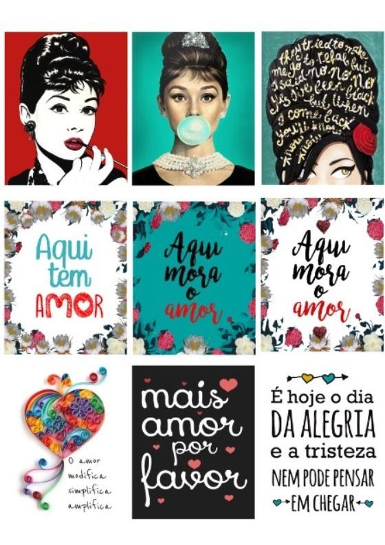 10 Quadros Decorativos Com Frases E Desenhos 20x25cm R 295 00