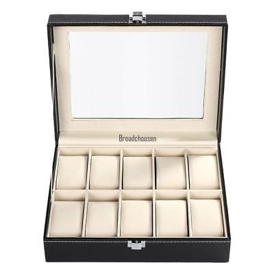 10 ranura reloj caja pantalla caso organizador cristal joyas