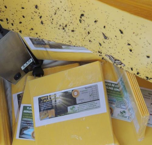 10 refil adesivo 45x14 cm amarelo matar mosquitos moscas