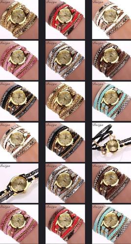 10 relógio feminino pulseira couro pu com corrente atacado
