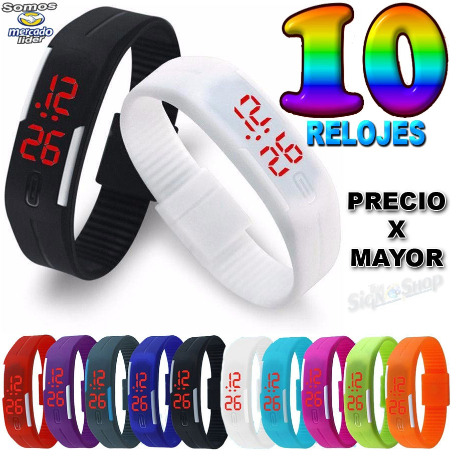 962f588d387e 10 relojes pulsera led digital silicona deportivo por mayor. Cargando zoom.