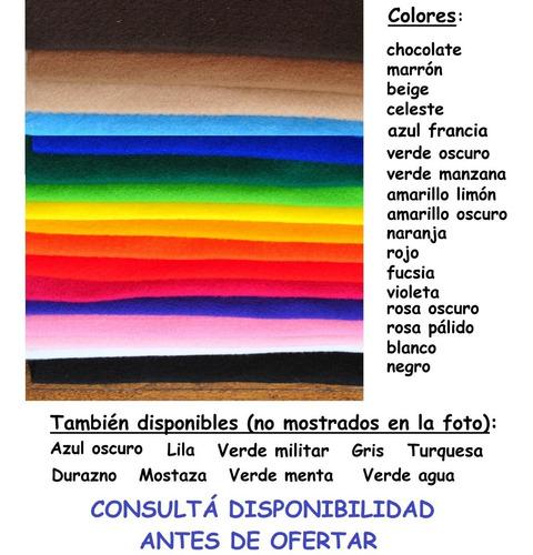 10  retazos de pañolenci de colores de 33cm x 25cm