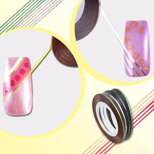 10 rolos de fitas adesivas decorativa de unhas