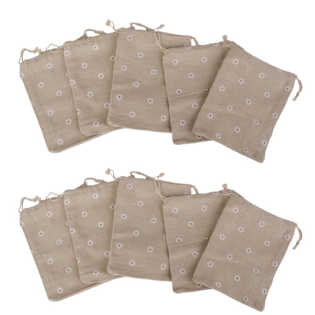 f69132ec9 10 saco yute de lino saco joyas bolsas regalo con cordón fa. Cargando zoom.