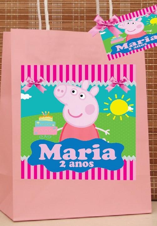 ef20c5f9d 10 Sacolas Kraft Personalizadas Peppa Pig - R$ 49,00 em Mercado Livre