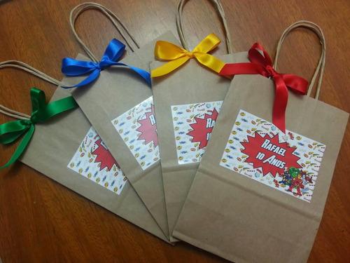 10 sacolinhas papel kraft personalizadas todos os temas