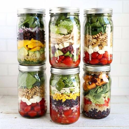 .10 salada pote vidro tampa alumínio 550ml salada tempero